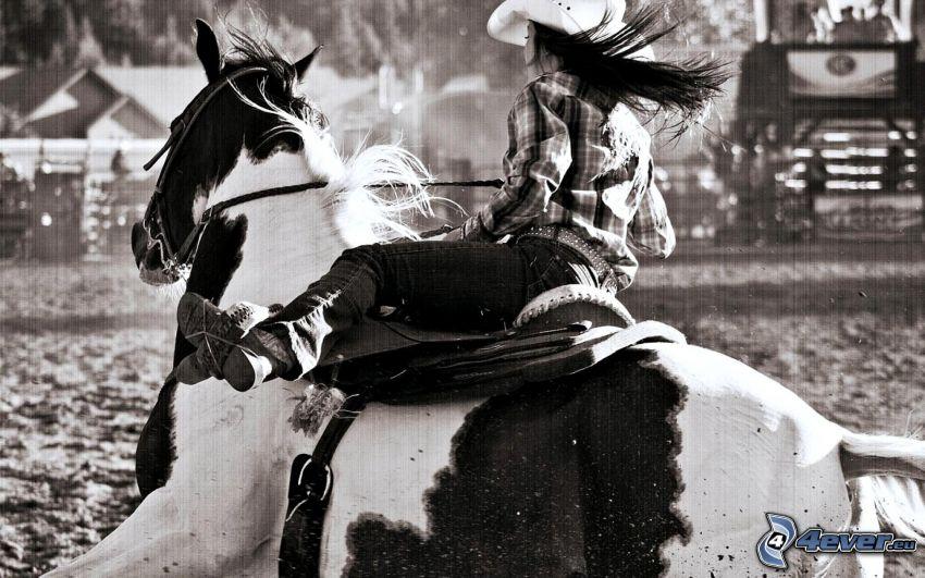 Rodeo, Cowgirl, Schwarzweiß Foto