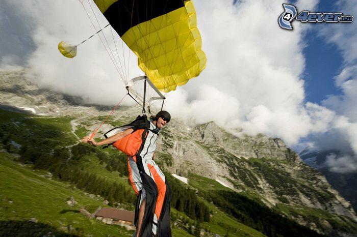 Roman Dubsky, BASE Jump, Fallschirm