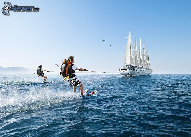 Surfen, Wasser-Ski, Ausflugsschiff, Meer, Urlaub