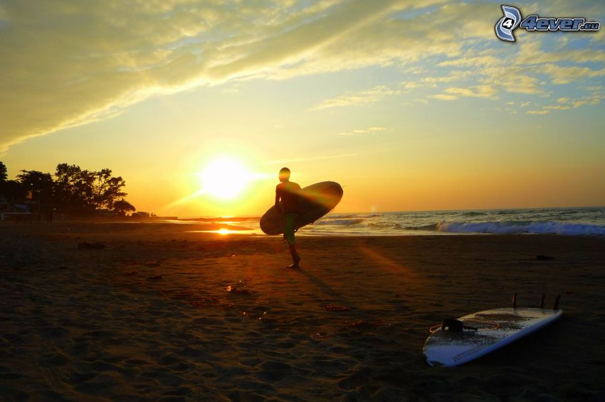 Surfer, Strand beim Sonnenuntergang, Surfbretter, Meer