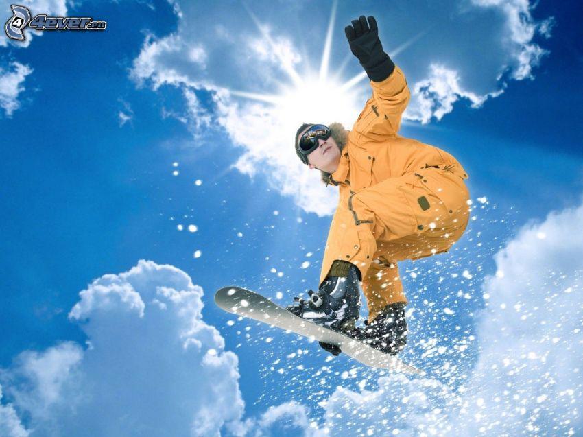 extreme Snowboarding, Sprung, Wolken, Sonne
