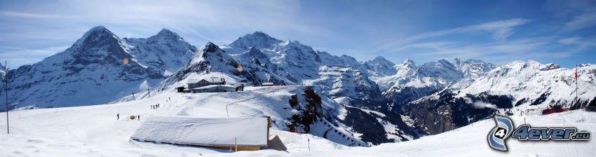 Männlichen, Schweizer Alpen, Hangabfahrt, Skigebiet