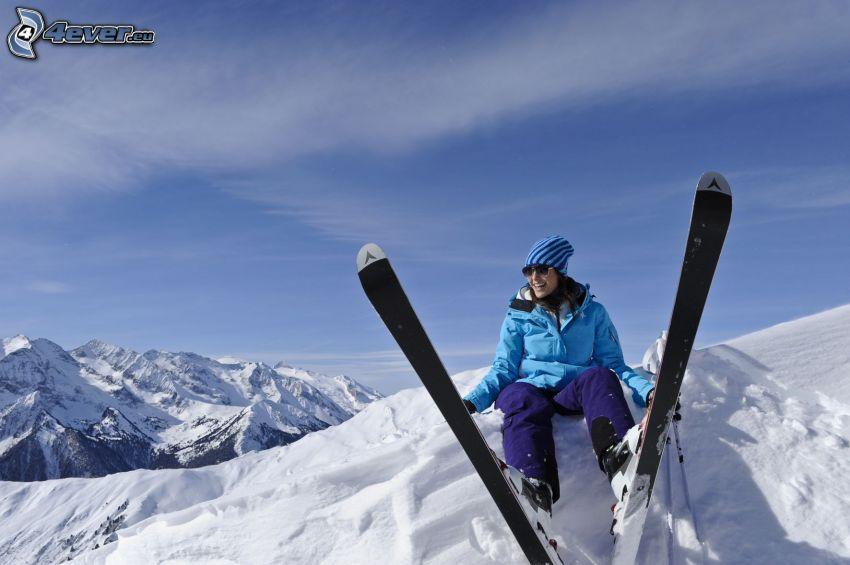 Skifahren, Rast, Schnee