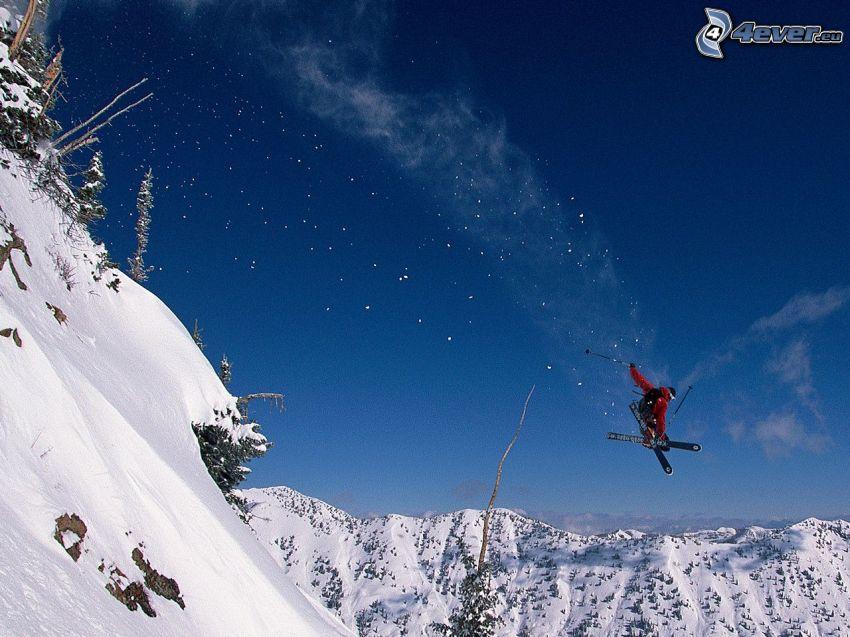 Skifahren, Skisprung, schneebedeckte Berge