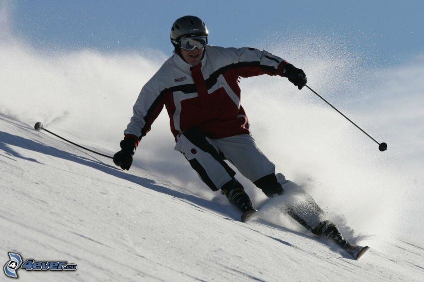 Skifahrer, Abhang