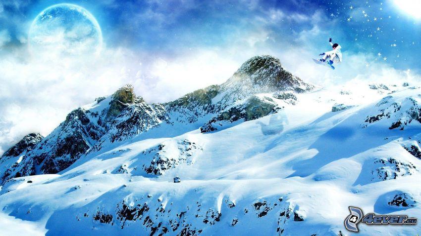 Snowboard-Sprung, Adrenalin, Winterlandschaft, Berge, Schnee