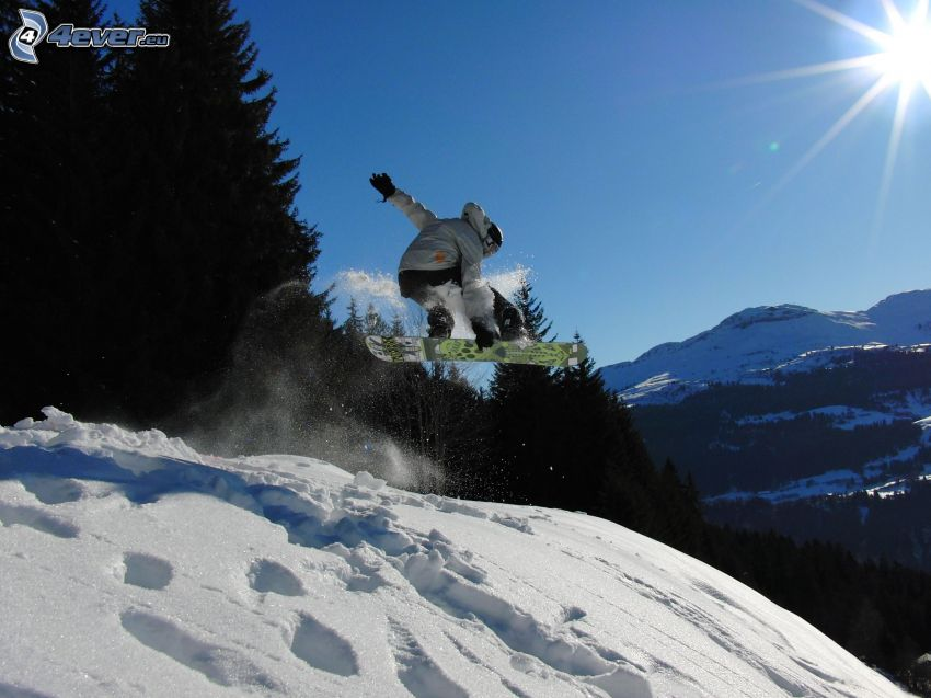 Snowboard-Sprung, Berge