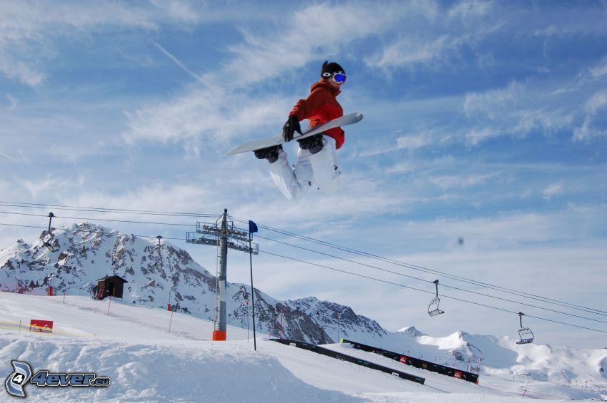 Snowboard-Sprung, Skilift