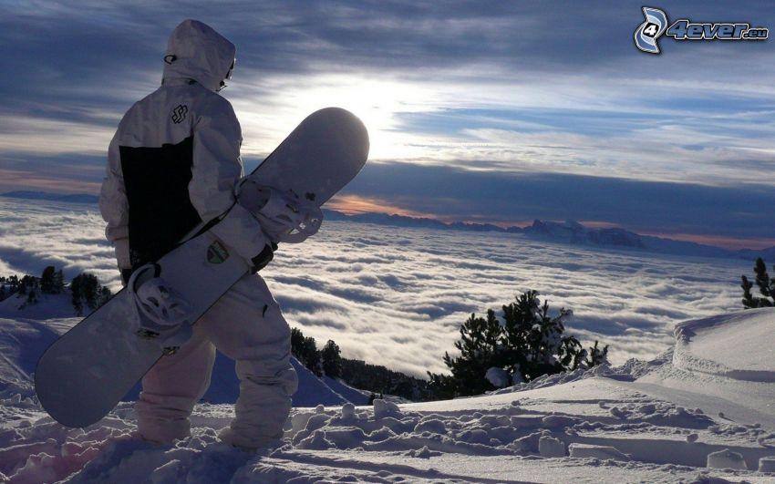 snowboarding, Inversionswetterlage, Schnee