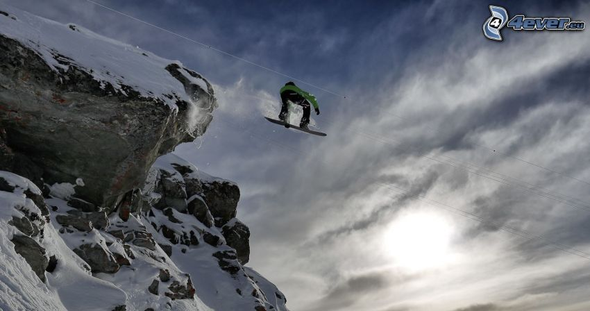 snowboarding, Sprung, Felsen, Schnee