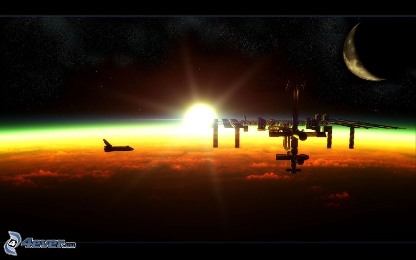 Internationale Raumstation ISS, Sonnenaufgang, Mond, Space Shuttle