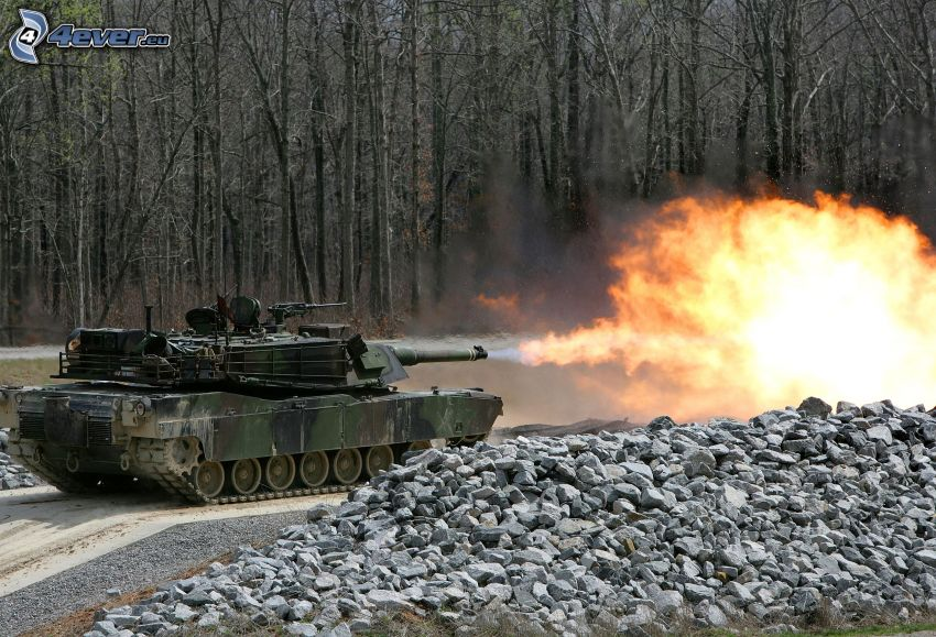 M1 Abrams, Lötlampe, Panzer, Schuss, Wald, Steine