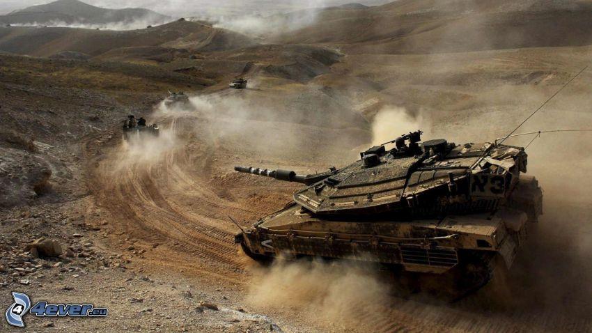 Merkava, Panzer, Wüste, Staub, Afganistan