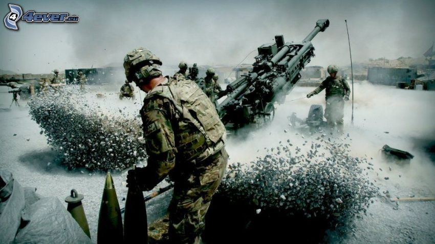 Soldaten, Kanone