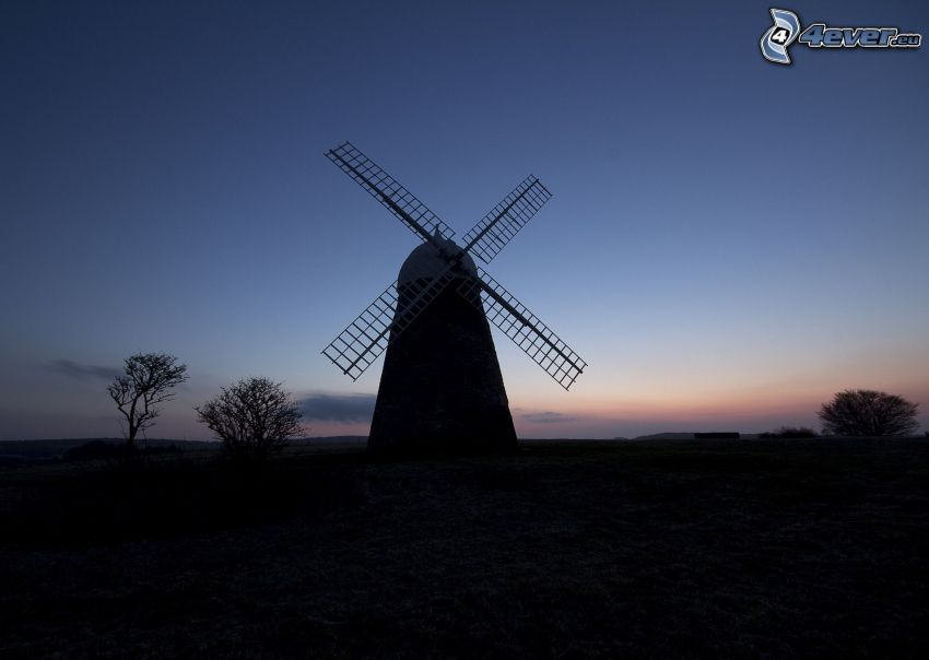 Windmühle, Abend, Silhouette