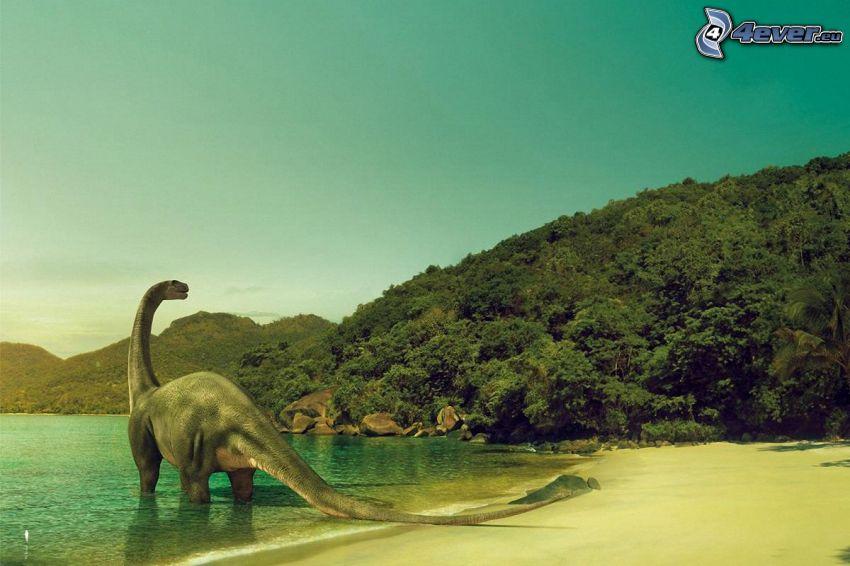 Dinosaurier, Küste, Berge