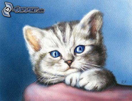 cartoon-Katze, kleines graues Kätzchen