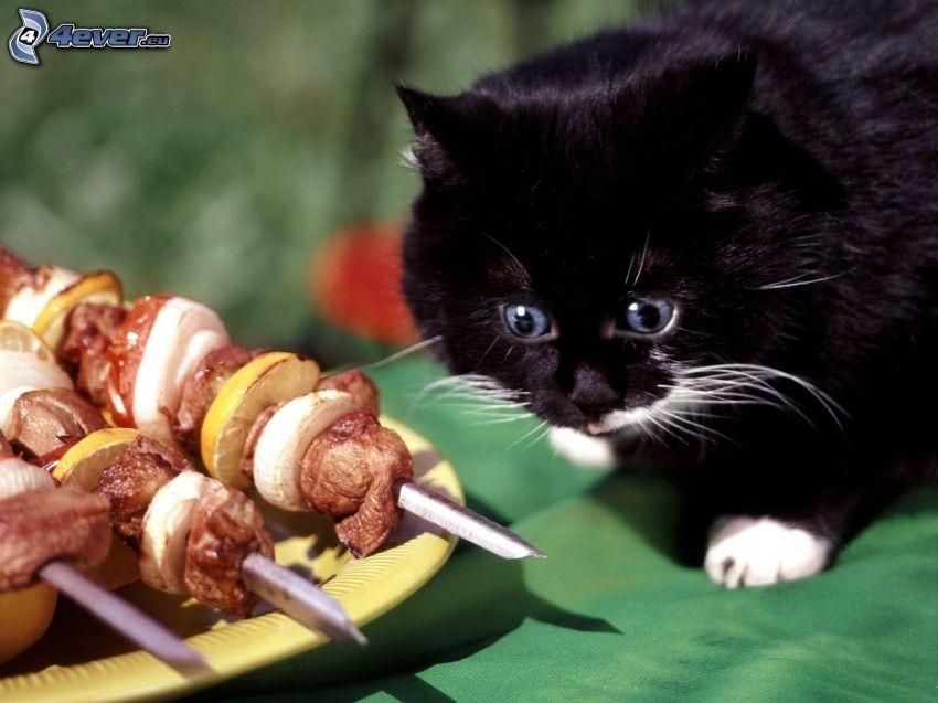 schwarzes Kätzchen, Spieß gegrillt