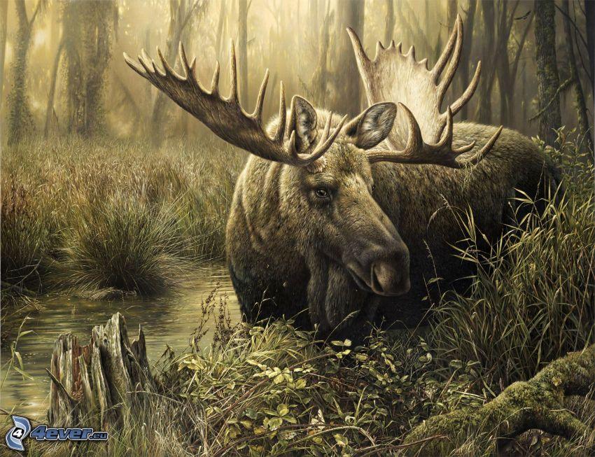 Elch, Wald, Cartoon