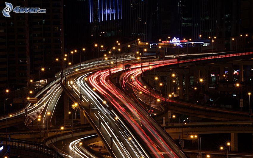 Autobahnkreuz, nacht-Autobahn, Lichter