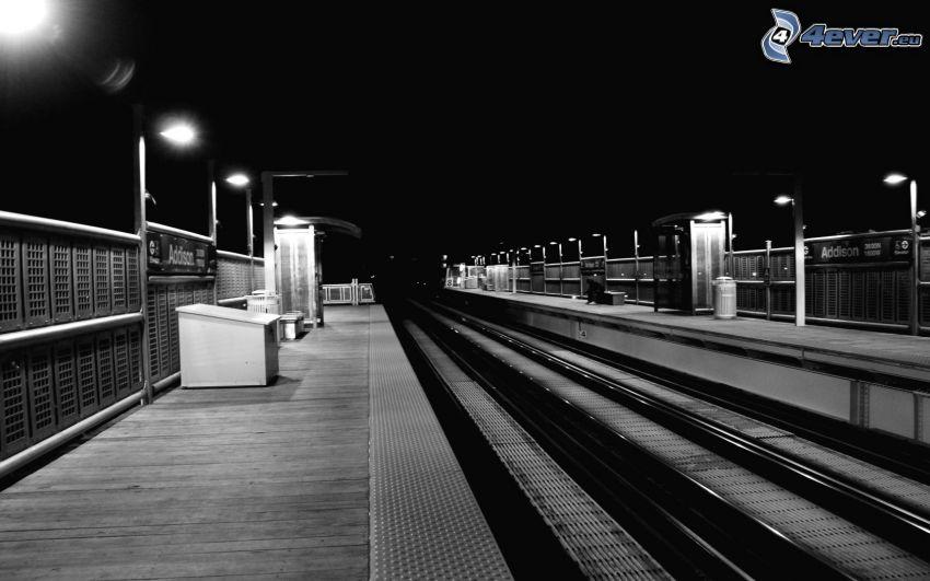 Bahn, Bahnhof, Nacht