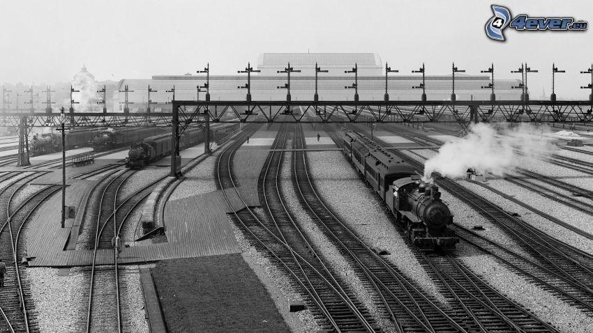 Bahnhof, Schienen, Dampfzug