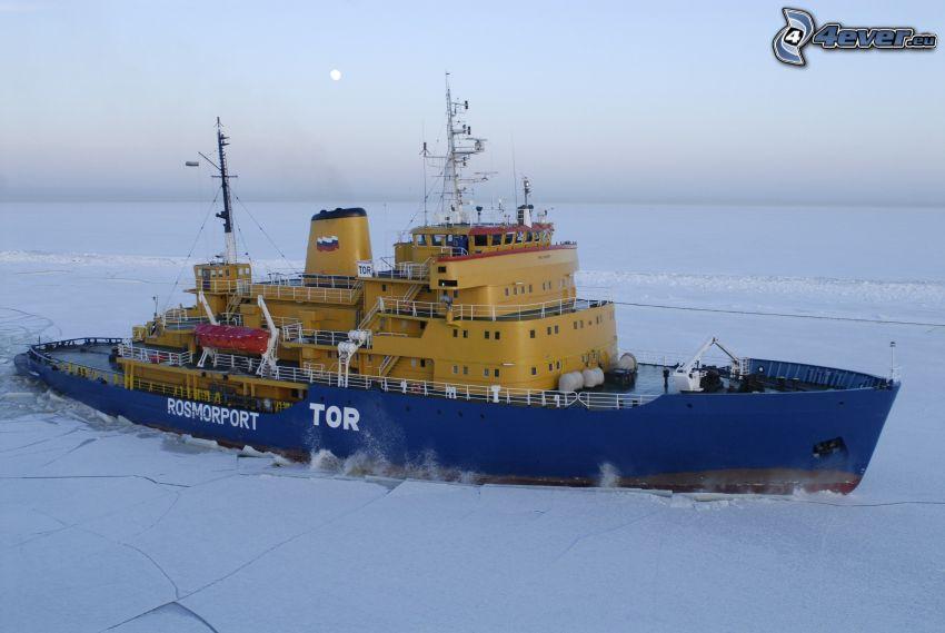 Eisbrecher, gefrorenes Meer
