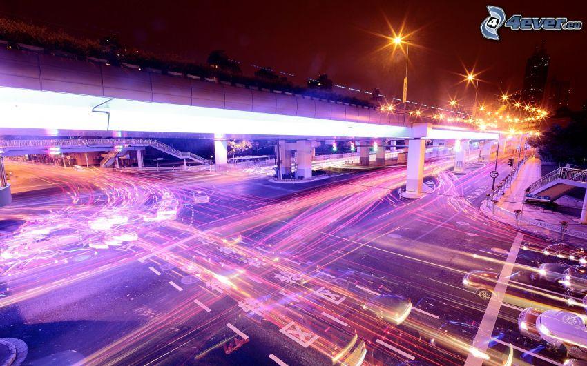 Kreuzung, Lichter, Verkehr, unter der Brücke, Nachtstadt