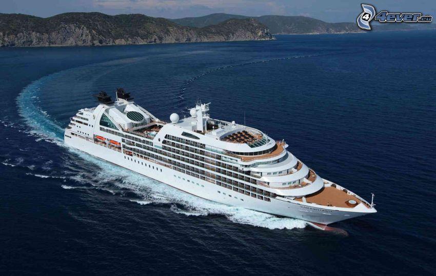 Luxus-Schiff, Küste, Meer