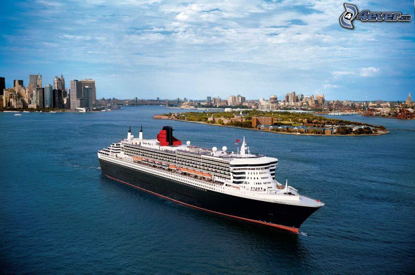 Queen Mary 2, Luxus-Schiff, Manhattan