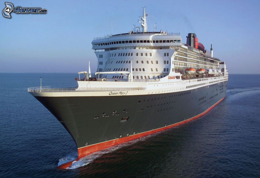 Queen Mary 2, Luxus-Schiff, offenes Meer