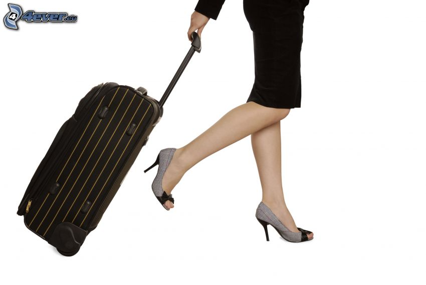 Reisen, Koffer, Frau, Damenschuhe