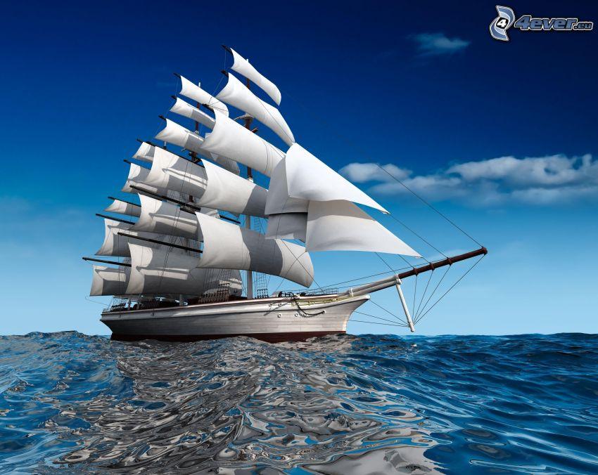 Segelschiff, Meer, blauer Himmel