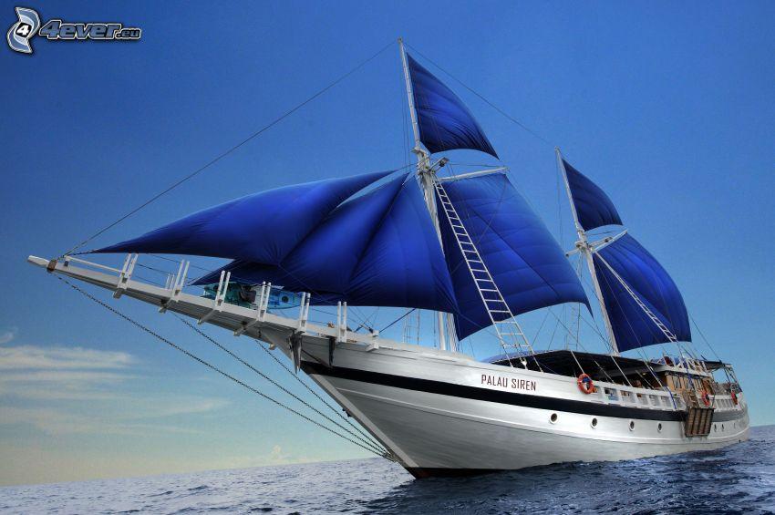 Segelschiff, Meer, klarer Himmel