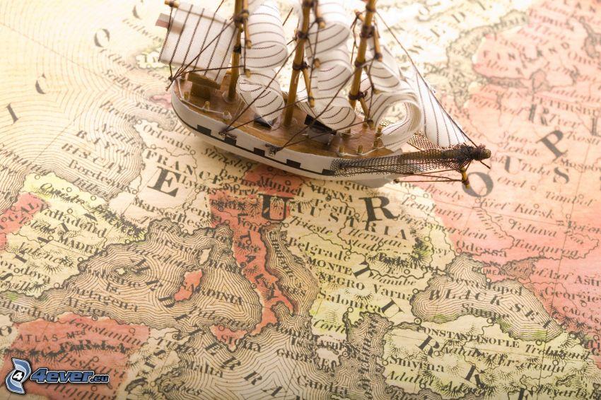 Segelschiff, Schiff, historische Landkarte