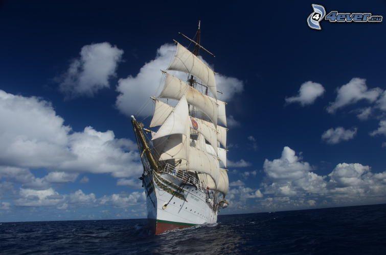 Sørlandet, Segelschiff, offenes Meer, Wolken