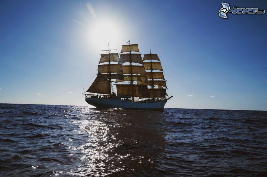 Sørlandet, Segelschiff, Sonne, offenes Meer