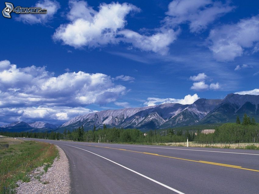Straße, Berge, Wolken, Kurve