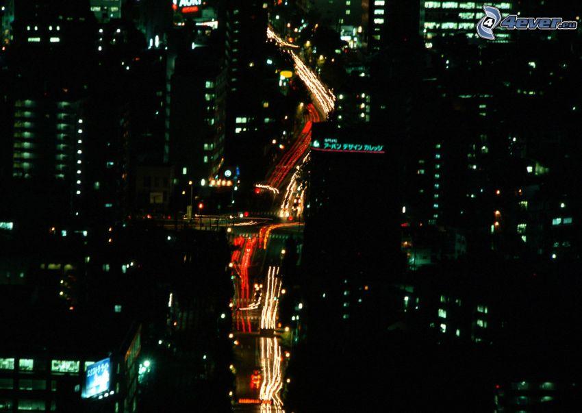 Straße, Lichter, Nachtstadt