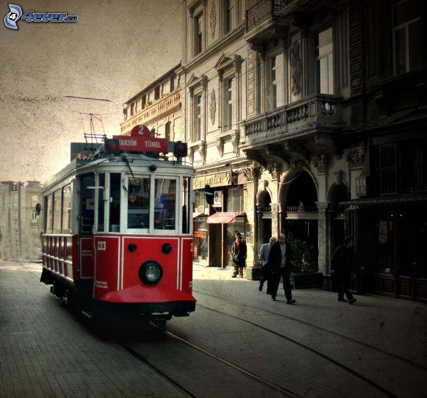 Straßenbahn, Straße, Häuser
