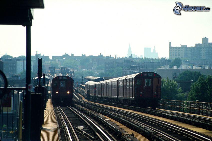 Bahnhof, Züge, Schienen