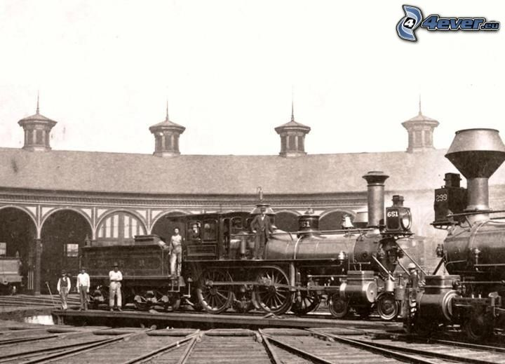 Dampflokomotive, Amerika, altes Foto