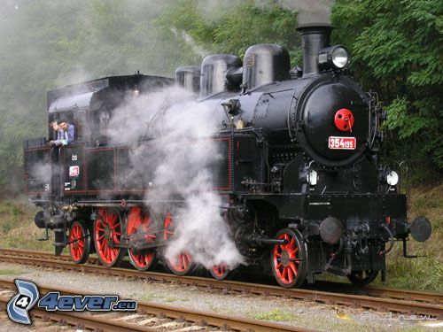 Dampflokomotive, Schienen, Wald, Dampf