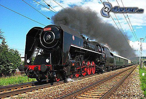 Dampfzug, Lokomotive, Schienen