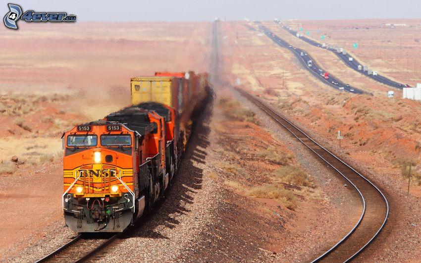 Güterzug, Schienen, Autobahn, USA
