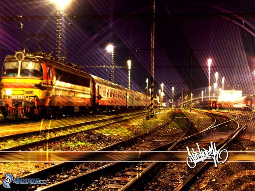 Zug, Schienen, Lokomotive, Bahnhof, hip hop