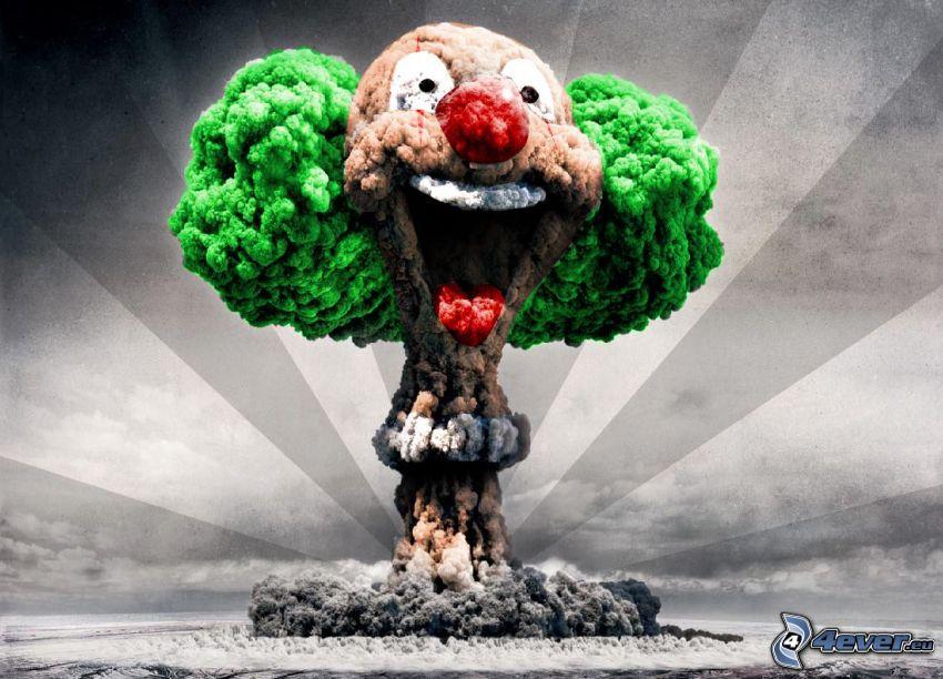 Explosion, Clown, Lächeln