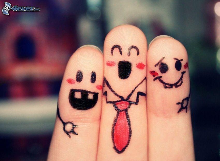 Finger, smileys, Krawatte