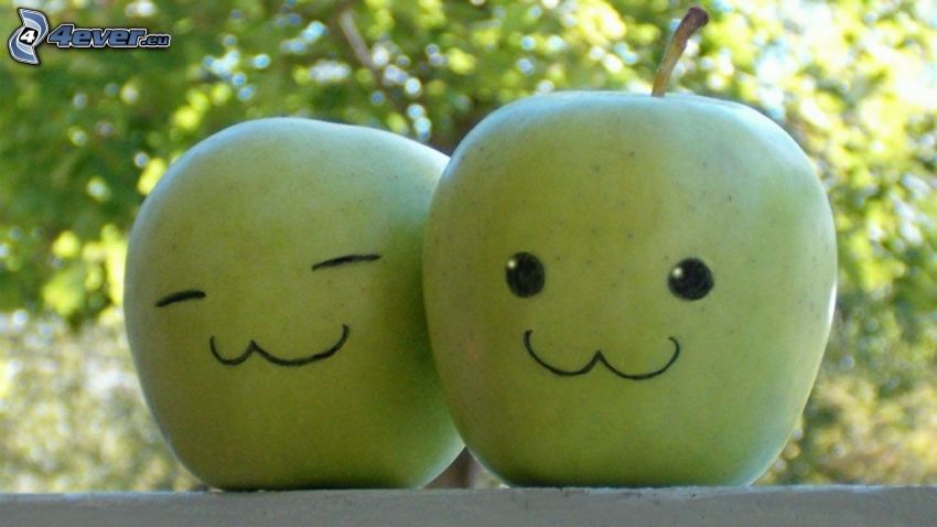 grüne Äpfeln, smileys