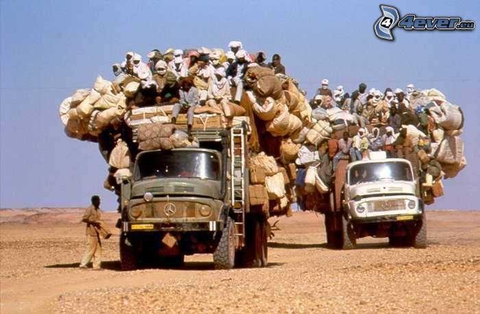 Bus, Menschen, Gepäck, Indien